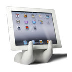 Danya B. - The Art of Hand Book & Mobile Device Stand - Give your space a personal touch by using this extra pair of hands to hold aloft your mobile device, cookbook or sheet music. This whimsical sculpture was crafted from cement with a sleek white PVC coating, and will look attractive even when its hands are empty.