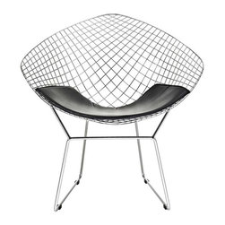 Modway - CAD Lounge Chair in Black - A modern club chair broken down to the most basic of its elements, suitable for home or office, this contemporary accent chair is a remarkable piece. The continuous wire-like seat is visually stimulating, and a black leather-matched vinyl seat pad is included for comfort. A simple yet stylish design in a geometric shape.