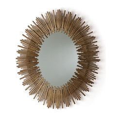 Prescott Oval Iron Mirror - A halo of radiant rays surrounds the face of the viewer or illuminates the reflection of your richly appointed home in the Prescott Iron Oval Mirror.  Thin reeds of iron in multiple lengths are arranged around the rim of this gorgeous large-scale oblong wall mirror, creating a rippling outline with attractive texture and opulent gold-leaf finish.  The central mirror is plain and clear for perfect reflections; hang it in the bathroom for oversized grandeur or in a living area for light and artistic beauty.