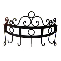 Iron Artistica - Iron Artistica Wall-Mounted Scroll Pot Rack - A Carolina Rustica Exclusive! This gorgeous and useful piece is a wonderful and practical addition to any kitchen. The arch design allows for easy storage and access of kitchen utensils. Vertical side scrolls assure a stable and secure fit. Available in Matte Black finish. Popular Iron Artistica Item on Overstock Clearance! DOES NOT include hanging hardware.