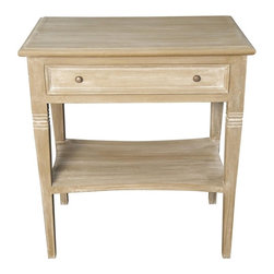 Noir - Noir - Oxford 1 Drawer Side Table, Weathered - Weathered Mahogany Wood