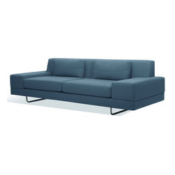 Truemodern - Hamlin Sofa - Hamlin Sofa by TrueModern designed by Edgar Blazona. Baseball seam-style stitching and minimalist lines characterize the Hamlin Sofa by TrueModern. With a cross-pattern stitched across each of the two kidney-shaped back pillows and the back rest behind them, the stitching neatly sets off what is a relaxingly comfortable sofa. Medium density foam allows you to sink in a bit for a cozy experience. This modern sofa is great for everyday use but won't compromise your design aesthetic.
