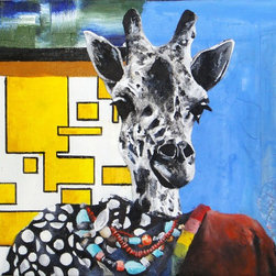"""""""Giraffe Face"""" Artwork - Surreal mixed media on canvas. Mixed Media includes: acrylic paint, oil paint, collaged map pieces, marker."""