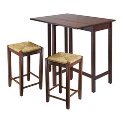 """Winsome Wood - Winsome Wood Lynwood 3 Piece Drop Leaf Table w/ Rush Seat Stool - 3 Piece Drop Leaf Table w/ Rush Seat Stool belongs to Lynnwood Collection by Winsome Wood This versatile high table is space saving and functional. A leaf is folded down for space saving and when in use lift up the leaf for an extension of top surface. Top table area when leaf is up 39.37""""W x 30""""D x 35.43""""H. Table when leaf is folded 39.37""""W x 20.70""""D x 35.43""""H. Drop leaf 39.37""""W x 10.31""""D. Constructed in solid wood in warm Antique Walnut Finish. Ready to Assemble. Pub Table (1), Stool (2)"""