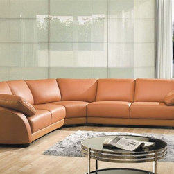 Sophisticated Italian Top Grain Leather Sectional Sofa - Features: