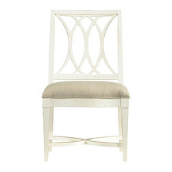 Stanley Furniture - Coastal Living Resort-Heritage Coast Side Chair - Water--there is just something about oceans and lakes, even rivers, that call to our very core. Our Heritage Coast Side Chair harnesses that love of water, and its movement, and puts it into another form. The interlocking curves featured on the back resemble the twists and turns of a river, while the X-shaped braces speak to the ocean's waves tumbling over one another.