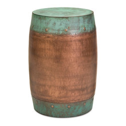 iMax - Rania Copper-Plated Stool - The Rania stool features a solid iron foundation with a copper-plated design.