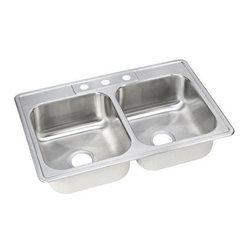 Elkay - Elkay Dayton Elite Double Bowl Sink with Three Holes (DSE233223) - Elkay DSE233223 Dayton Elite Double Bowl Sink with Three Holes, Stainless Steel