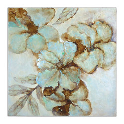 Uttermost - Fairy Blooms Floral Art - Bring a bevy of blooms into your home with this hand-painted art on canvas. The high gloss finish will capture your space adding texture and light while the beautiful blooms float on your wall, unhindered by a frame.