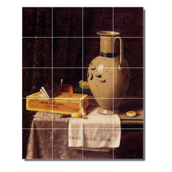 Picture-Tiles, LLC - Cigar Box Pitcher And New York Herald Tile Mural By William Harnett - * MURAL SIZE: 30x24 inch tile mural using (20) 6x6 ceramic tiles-satin finish.