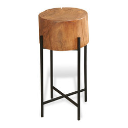Kathy Kuo Home - Lundin Rustic Lodge Acacia Wood Iron Side Table - Tall - Bring the natural beauty of the woods indoors with this pristine piece of polished acacia tree trunk. With unique, annual rings ingrained, this delightfully detailed table stands alone as a partner to a slightly smaller side table.
