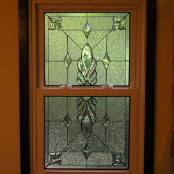 Grantham Double Hung - Leaded and beveled stained glass privacy windows for master bath