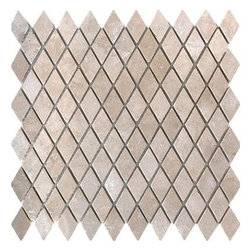 MS International - Colisseum Rhomboid Mosaic Tumbled Travertine Floor & Wall Tile- 50 Sheets Lot - M. S. International Colisseum Rhomboid 1 in. x 1 in. Tumbled Mesh-mounted Mosaic is a creamy beige Natural Stone Travertine ideal for today's casual lifestyle. With a large selection of sizes and accessories to choose from, this tile can easily be laid in a pattern or single layout and is suitable for residential and commercial installations, including kitchens and bathrooms.