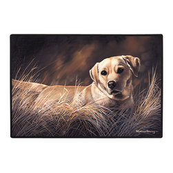 140-Yellow Lab Doormat - 100% Polyester face, permanently dye printed & fade resistant, nonskid rubber backing, durable polypropylene web trim on the porch or near your back entrance to the house with indoor and outdoor compatible rugs that stand up to heavy use and weather effects