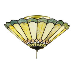 Meyda Tiffany - Meyda Tiffany Jadestone Carousel Traditional Tiffany Flush Mount Ceiling Light X - From the Jadestone Collection, this Meyda Tiffany flush mount ceiling light capitalizes on classic Tiffany styling. The conical shape of this Tiffany ceiling light is accentuated by a geometric-inspired pattern that is almost floral-like when viewed from below. The green tones of the art glass shade pair beautifully with the classic bronze-toned finish, completing the look.