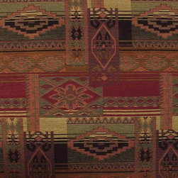 Sedona Canyon Southwestern Upholstery Fabric, Full Width Yardage - This woven Jacquard upholstery grade  fabric has a bold Southwestern theme. The pattern features reds, neutrals and green tones. Here are the particulars ...