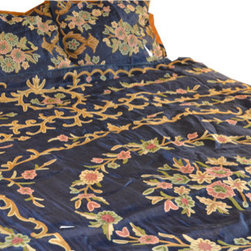 Crewel Fabric World - Crewel Bedding Artful Florals Deep Royal Blue Cotton Duck Duvet - Artisans in a remote mountain village in Kashmir crewel stitch these blossoms, vines and leaves by hand, resulting in a lush pattern of richly shaded wool yarns on Linen, Cotton, Velvet and Silk.
