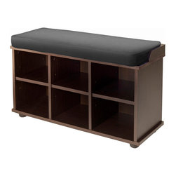 "Winsome Wood - Winsome Wood Townsend Bench w/ Black Cushion Seat - Townsend Bench is perfect for entry way or bedroom. This bench comes with Cushion seat with Black cover, Cushion size is 32.36""W x 11.81""D x 1.97"" thick. Under seating has six sections for storage with upper cubes size 10""W x 11.42""D x 6.69""H and 3 lower cubes size 10""W x 11.77""D x 7.24""H, perfect for shoes storage. Made from combination of solid and composite wood in Espresso Finish. Assembly Require. Bench (1)"