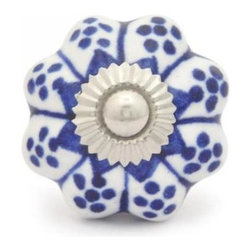 "Knobco - Ceramic Knob, Blue with White Base - Blue design with white base ceramic knob 02, perfect for your kitchen and bathroom cabinets! The knob is 1.5"" in    diameter and includes screws for installation."