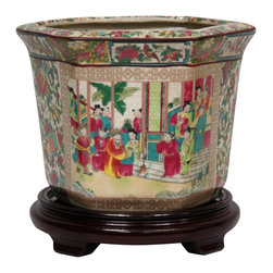 "Oriental Furniture - 10"" Rose Medallion Porcelain Flower Pot - Rose Medallion style hexagonal ceramic flower pot. Crafted from durable high temperature fired Chinese porcelain. Colorful artwork features a courtyard scene, panels of lotus blossoms and birds, and a pattern of fruit, flowers, and oriental objects all appliqued and fired onto the porcelain in a kiln. Finished in a medium gloss crackle glaze. Drainage hole in base for watering live plants. Photographed with stand for display only; sold separately."