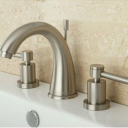 None - Satin Nickel Wideset Bathroom Faucet - Update your bathroom decor with this contemporary bathroom faucet. Featuring a satin nickel finish, this widespread faucet includes a combination of curving and straight lines for an elegant design.