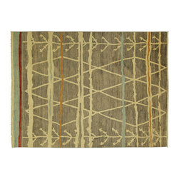 Manhattan Rugs - New 8' X 10' Modern Handmade Area Rug Geometric Gray Hand Knotted Wool MC116 - This is a true hand knotted oriental rug. it is not hand tufted with backing, not hooked or machine made. our entire inventory is made of hand knotted rugs. (all we do is hand knotted)