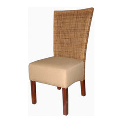 Jeffan International - Karyn Rattan Dining Sidechairs w Upholstered Seats - 2 Pc Set - Set of two chairs. Made from natural rattan and linen. Made in Indonesia. Natural finish. 21 in. L x 23 in. W x 41 in. H (17 lbs.)Made of very fine rattan weave to give a smooth feel. Color is a medium antique finish. The upholstered seat is made of linen light beige fabric.