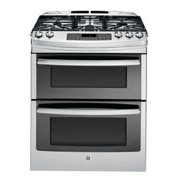 """GE Profile - PGS950SEFSS 6.8 cu. ft. Large Capacity 30"""" Slide-in Double Oven Gas Range  with - The GE PGS950SEFSS 30 in 68 cu ft Slide-in Double Oven Gas Range in Stainless Steel has Convection Bake and Convection Roast plus Self-Cleaning ovens The Precise Simmer burner allows cooking of delicate foods with low even heat The 20000 BTU Tri-Ring..."""