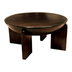 TerraSur - Giza Drum Coffee Table - Using ship-making techniques to create a stunningly designed piece, the craftsmen who created this coffee table carved a masterpiece out of solid wood. The carefully sculpted drum top is perfectly set on the sturdy, geometric legs, and will bring a sense of balance to your home.