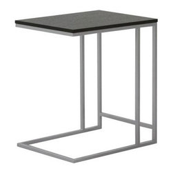 Bar None Accent Table - For style a cut above the ordinary, pick this open-structured side table. The black oak top is supported by neatly connected silvery beams. Its angular shape and open design make it a classic in any room.