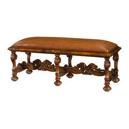 """Theodore Alexander - William's Window Seat Bench - A hand carved bench, with an upholstered seat, on scroll carved legs and stretchers.  Based on the original William and Mary design.  Seat Height: 21 1/4""""  Theodore Alexander upholstery uses the finest quality materials and is hand applied by expert craftspeople to ensure the highest standards in comfort, longevity and style.  Our craftsmen select wood based on beauty, colour and suitability to each individual piece.  We still use traditional furniture making, wood working techniques and materials to ensure enduring quality in every one of our products."""