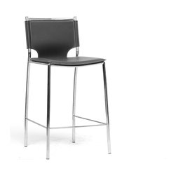 Baxton Studio - Baxton Studio Montclare Black Leather Modern Counter Stool (Set of 2) - You will enjoy the clean design of this contemporary leather counter stool. The shine of the chrome-finished steel frame contrasts beautifully with the matte black bonded leather of the seat, both hallmarks of the Montclare design. The edges of the leather are finished with a single line of stitching in a contrasting cream shade. Small black plastic non-marking feet are included to protect your floor. The modern bar stool works equally well in a commercial setting such as a lobby bar, lounge, or restaurant bar. The Montclare Stool is fully assembled and is made in China. To clean, wipe with a damp cloth. also available (sold separately) are matching bar stools and each are also offered in brown leather.