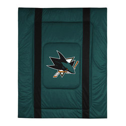 Sports Coverage - NHL San Jose Sharks Twin Comforter Sidelines Hockey Bed - FEATURES: