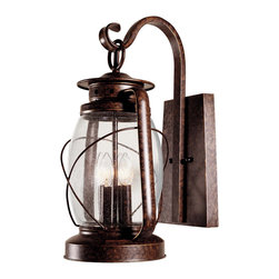 Savoy House - Savoy House 5-3412-56 Smith Mountain Wall Mount Lantern - Exterior fixture in New Tortoise Shell finish mimics an antique lantern, Clear Seeded glass.