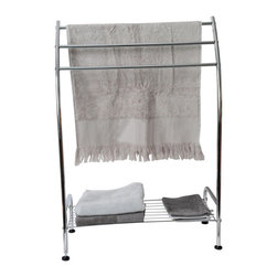 3-Tier Curved Towel Stand Metal / 1 Shelf Chrome - This lovely towel stand for bathrooms is in metal and has a chrome plated finish. It features 3 curved bars to keep the towels off the floor and neatly organized and one shelf to add storage space for towels and essentials. Its stylish design serves as a functional holder and dryer for your bathroom towels. This towel stand maximizes wasted space and your towels will be ready whenever you are. Easy to assemble with the included hardware. Clean with warm soapy water. Width 22.4-Inch, height 33.5-Inch and depth 9.8-Inch. Color chrome. It's an easy and elegant way to maximize your bathroom's available space while providing functional storage and shelving for all your necessities. Give a decorative touch to your bathroom with this useful towel stand! Imported.