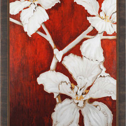 Paragon Decor - Orchid Silhouette Artwork - Exclusive Hand Embellished Gicl�ee on Canvas with Metallic Accents