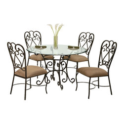 """Pastel Furniture - Pastel Furniture Verdugo 5 Piece 26 Inch Round Dining Room Set in Autumn Rust - Magnolia dining set features the Verdugo Dining Table with 48"""" round glass top in Autumn Rust metal finish. It is paired with the Magnolia Side Chair in matching finish and is upholtered in Moccasin Suede fabrics."""
