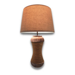 Zeckos - Distressed Wood and Natural Rope Wrapped Table Lamp 20 In. - Lighting can be like jewelry for the home. It can reflect your personality and style while adding a functional feature that can be either a focal point, or make your focal point glow in its light. This table lamp will add a natural nautical touch to your room and your home. Crafted from wood, natural rope has been wrapped around a distressed wood base, providing both a rustic and a natural vibe. It would look amazing in an entryway so you won't have to walk into a dark room after a long day, in the living room lighting your prized pictures on the wall, and with a linen-look fabric shade that has been lined with a diffuser, it'd be perfect for a nightstand next to the bed to curl up with a good book. It stands 20 inches high (51 cm), and 5 1/2 inches in diameter (14 cm), and the shade is 12 inches in diameter (31 cm), uses one 40 Watt max type A bulb (not included), and has an in-line thumbwheel switch on the 58 inch (147 cm) black cord to easily turn it on or off. This lamp would make a wonderful gift for any nautical collector, and an amazing addition to any home.