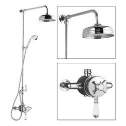 "Hudson Reed - Chrome & Ceramic Traditional Shower System With 8"" Rain Head Handset Riser Kit - The Hudson Reed Traditional Grand Rigid Riser Kit with Dual Thermostatic Shower Valve complements the appearance of any bathroom furnished in traditional style. The ceramic and chrome materials used for the single function exposed shower valve match the chrome exposed rigid riser kit."