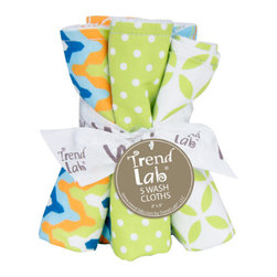 """Trend Lab - Bouquet 5 Pack Wash - Levi - Trend Lab's Levi Wash Cloth Set makes bath time fun! Set features five wash cloths each with fun, modern prints on the front and terry on the back. Wash cloth patterns include: one vibrant chevron print in nautical blue, tiger orange, blue raspberry, chartreuse green and white; one chartreuse green and white mini dot print; one white and chartreuse green lattice print; one variegated stripe print in nautical blue, tiger orange, blue raspberry, chartreuse green and white; and one tiger orange and white geometric circle print. Each wash cloth measures 8"""" x 8"""". Coordinates with the Levi collection by Trend Lab."""