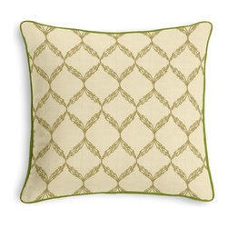 Green Embroidered Trellis Corded Pillow - Black and white photos, Louis XIV chairs, crown molding: classic is always classy. So it is with this long-time decorator's favorite: the Corded Throw Pillow.  We love it in this green trellis crewel embroidered on natural cotton for a look that's classic with a touch of casual.