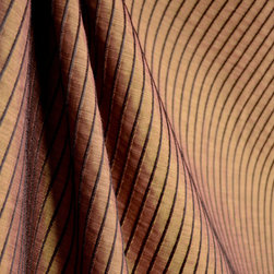 Softline - Marbella Mahogany Rust Chocolate Brown Texture Stripe Drapery Fabric By The Yard - Black ribbed pinstripes create a texture on a rusty brown background to make up Marbella Mahogany.  This beautiful fabric would best be used for window treatments or bedding.