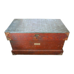 Pre-owned Late 19th C. Wood & Tin Trunk - A beautiful late 19th century oak trunk with a riveted tin top. A brass plate identifies its owner as Edmond Gervais. We don't know who he was, but we do know that he had great taste in traveling gear!