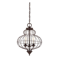Quoizel - Quoizel Rustic Antique Bronze Mini Chandeliers - SKU: LLA5203RA - The comfortable style of this collection makes your home feel warm and inviting. The open feel of the cage like structure adds visual interest and the candelabra lights emit a soft and cozy glow for a touch of romance. It adds an artistic flair to any room.