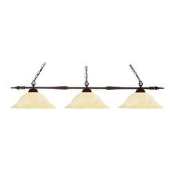 Z-Lite - Z-Lite Aztec 3 Light Billiard Light X-61MG-ZRB30188 - The slim styling of this three light fixture creates a classic yet modern statement. Finished in bronze, this three light fixture uses warm golden mottle glass shades to compliment its classic look, and 72'' of chain per side is included to ensure the perfect hanging height