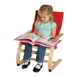 Guidecraft - Kiddie Rocker Chair - Children will enjoy the sturdy construction and comfort of their own kid - sized chair. Bent plywood frame, steel inner support and cushioned, removable, washable fabric cover. Ideal for dramatic play, reading or quiet time. Features: -Bent plywood construction. -Sturdy and lightweight. -Removable cushion. -Designed for children ages 2 to 7 years olds. -Holds up to 90 lbs. Dimensions: -25.5'' H x 16'' W x 19'' D, 7 lbs.