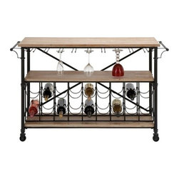 """BZBZ66777 - Bar on Wheel - Metal Wood Wine Table 48""""W, 31""""H - Bar on Wheel - Metal Wood Wine Table 48""""W, 31""""H. Some assembly may be required. Made with solid wood with metal alloy legs"""
