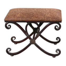 Uttermost - Manoj Distressed Small Bench - This bench makes a statement for such a small piece. Curved, coffee brown metalwork has mahogany undertones to add richness and the generous padded seat makes it comfortable extra seating when you need it. Of course, you can just plop your feet on it too after a long day at the office.