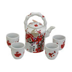 Oriental Unlimted - Cherry Blossom Porcelain Tea Set - Includes large tea pot and 4 classic handless Japanese style tea cups. Fine Oriental porcelain tea set. Cups: 2.5 in. Dia. x 2.75 in. H. Teapot: 6.5 in. W x 4.5 in. D x 8 in. H (3.5 lbs.)