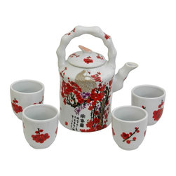 Oriental Unlimited - Cherry Blossom Porcelain Tea Set - Includes large tea pot and 4 classic handless Japanese style tea cups. Fine Oriental porcelain tea set. Cups: 2.5 in. Dia. x 2.75 in. H. Teapot: 6.5 in. W x 4.5 in. D x 8 in. H (3.5 lbs.)